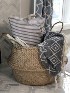 straw belly basket on farmhouse fireplace