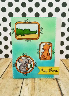 Lawn Fawn card by Stephanie Lynn (using Critters Down Under and Flirty Frames)