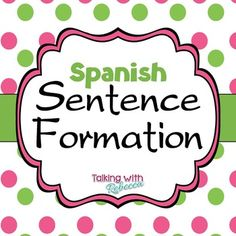 Have Spanish language students?  This packet is for you!  In Spanish Sentence Formation, target multiple grammatical goals.  Using the sentence strips, students can practice articles, subject verb agreement, present tense, and -iendo/-ando endings.Using the parts of a sentence cards, students can create their own sentences regarding stimulus pictures, or pictures of their own creation (just give them a page to draw on).