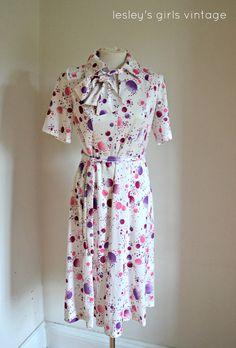 Vintage Secretary Dress- White and Purples Day dress