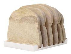 """Wat grappig! Het bordenrekje """"halfje wit"""" van HK-Living is echt te leuk. Een set van zes houten plankjes in de vorm van een boterham. HK-Living = fun!"""