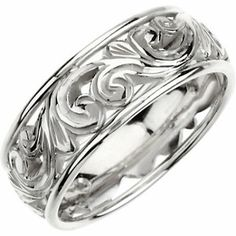 Hand Engraved Wedding Band- Style # CR20W Shown in White Gold, Also available in Yellow and Rose Gold info@bnjewelry.com Contact your local jeweler for pricing and styles!