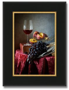 Peaches And Grapes - - Still life with glass of red wine, grapes, fresh peaches and old vantage books.  by Nikolay Panov - - https://pixels.com/products/peaches-and-grapes-nikolay-panov-framed-print.html