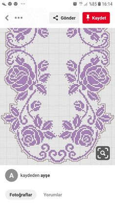 Previous 3 of 3 Handmade crocheted table center in your desired length, filet crochet lace trim, linear or turning edge for home décor and table Filet Crochet Charts, Crochet Motifs, Crochet Doilies, Crochet Lace, Crochet Stitches, Crochet Flowers, Cross Stitch Borders, Cross Stitch Flowers, Crochet Hat Patterns