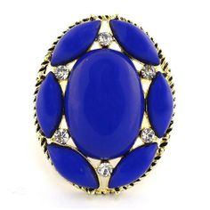 Fashion Cocktail Ring; 4cm L; Gold Metal; Royal Blue Gemstones; Clear Rhinestones; Stretches To Fit; Eileen's Collection. $19.99. Save 50% Off!