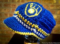 Retro Milwaukee Brewers Inspired Crocheted Baseball by TheHookUp, $25.00    I made a special request for them to create this Brewers theme and they did! I have already placed my order, I can't wait to get it and take pictures of it on Jack!