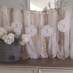 Vintage Baby Shower Doily Banner, Baby Shower Banner Ideas,  Lace Paper Doily Garland, Shabby Chic Baby Shower Decor, Dena Danielle Designs on Etsy, $8.00