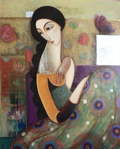 This painting reminds me another Indian painter Bua Shete. Always loved this pensive style.