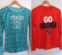 2 New SU Syracuse Long Sleeve Shirts Orange Blue Flannel Fan Apparel Size Small