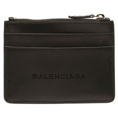 Balenciaga Navy Leather Card Coin Pouch (2 500 SEK) ❤ liked on Polyvore featuring men's fashion, men's bags, men's wallets, black, balenciaga mens wallet and mens leather wallets