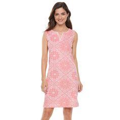 Women's Caribbean Joe Bandana Print Tank Dress, Size: Medium, Med Red