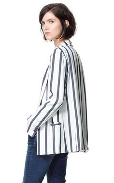 WIDE STRIPE BLAZER from Zara