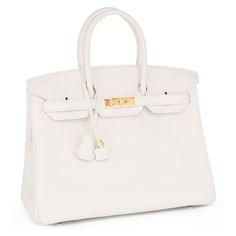#Hermes #Birkin #Bag White Clemence Gold Hardware