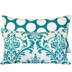 Gorgeous color and pattern for living room?  Turquoise Blue Damask Pillow Cover 12x20 Double Sided Lumbar Cushion Cover, Turquoise Mist Collection. $21.00, via Etsy.