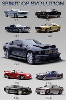Ford Mustang SPIRIT OF EVOLUTION Automotive Collage Poster - available at www.sportsposterwarehouse.com