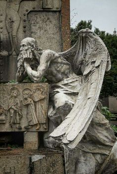 """Stop all the clocks The Cimitero Monumentale (""""Monumental Cemetery"""") is one of the two largest. Cemetery Angels, Cemetery Statues, Cemetery Art, Statue Ange, Sculptures, Lion Sculpture, Ange Demon, Angels And Demons, Angel Art"""