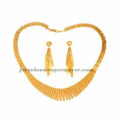 collar y aretes de oro dorado estilo noble en acero inoxidable para mujer -SSNEG481659