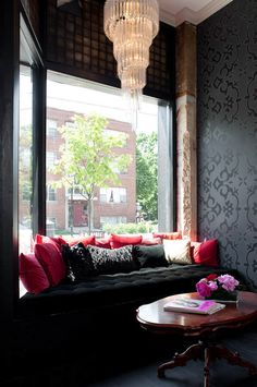 baroque window nook (via desire to inspire - Grateful Head Salon) I like the wall paper Red Walls, Dark Walls, Waiting Area, Cozy Nook, My New Room, Interiores Design, My Dream Home, Interior Inspiration, Sweet Home