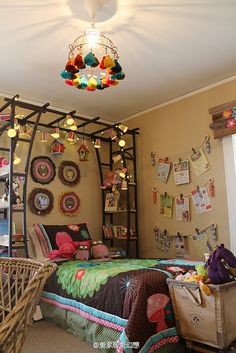 options for over L's bed: trellis is lighter and allows light through, but can still hold chandelier.