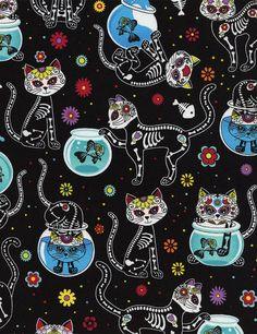 Jour de la mort Kitty tissu par-le-chantier  Tissu par TCSFabrics