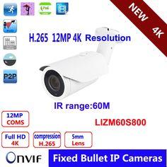 271.00$  Buy here - http://aliurl.shopchina.info/1/go.php?t=32805199471 - 4K IR Bullet IP Camera 5mm/60m/Metal/IP66 H.264/H.265 12MP CS 5mm HD Lens  POE Security IP Camera  271.00$ #magazine