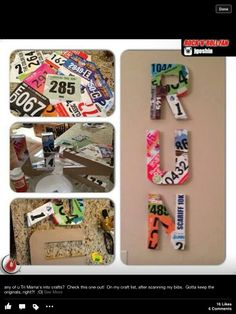 Race Bibs decoupaged to wooden letters ... That's actually really cool! I feel like I would be sad though!!!