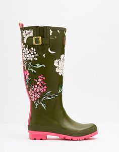 Wellyprint Grape Leaf Floral Printed Rain Boots | Joules US