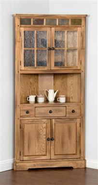 Sedona Rustic Oak Wood Corner China Cabinet