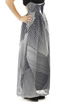 Sakina Striped Silk Maxi Skirt