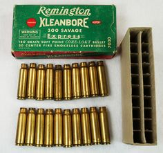 Vintage Remington Kleanbore 300 Savage Express 180 Gr. Soft Point Ammo Box with 20 Empty Brass Casings RD14570