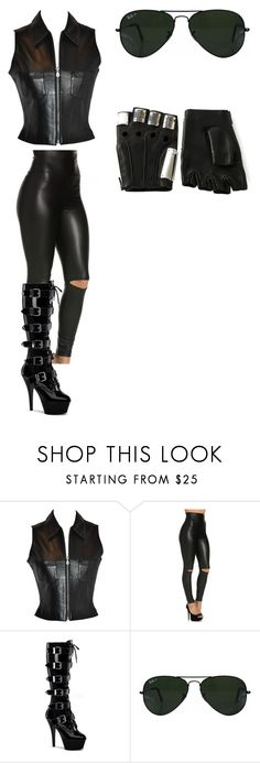 """""""TAB #1"""" by laurie-egan on Polyvore featuring Pleaser, Ray-Ban and Majesty Black"""