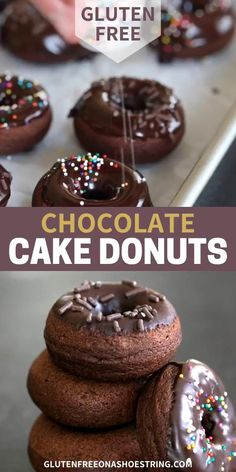Rich gluten free chocolate cake donuts with a thick glaze will satisfy your donut cravings and theyre ready in minutes. Gluten Free Donuts, Gluten Free Sweets, Gluten Free Baking, Gluten Free Recipes, Gluten Free Donut Recipe Baked, Gf Recipes, Chocolate Cake Donuts, Gluten Free Chocolate Cake, Healthy Chocolate