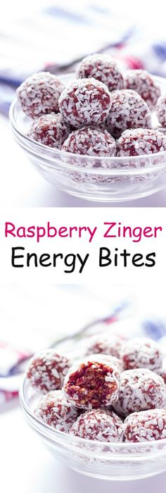 Peanut Butter Energy Bites Raspberry Zinger Energy Bites - Healthy raspberry and coconut flavored energy balls made with just fruit and nuts!Raspberry Zinger Energy Bites - Healthy raspberry and coconut flavored energy balls made with just fruit and nuts! Weight Watcher Desserts, Healthy Desserts, Healthy Recipes, Raspberry Recipes Healthy, Coconut Recipes, Healthy Breakfasts, Peanut Butter Energy Bites, Desserts Sains, California Almonds