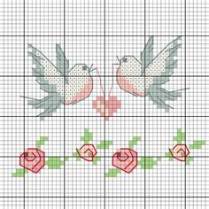 Embroider birds as messengers of love - discover numerous free charts for embroidery! - Embroider love messenger birds – Discover this motif and numerous other free charts, embroidery p - Small Cross Stitch, Cross Stitch Heart, Cross Stitch Borders, Cross Stitch Animals, Cross Stitch Designs, Cross Stitching, Cross Stitch Embroidery, Cross Stitch Quotes, Cross Stitch Letters