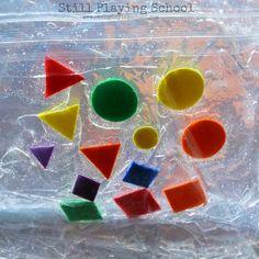 Still Playing School: Shape Sensory Squish Bag for Kids