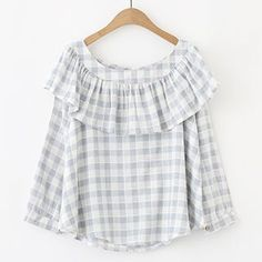 Buy Meimei Ruffle Trim Plaid Long Sleeve Top at YesStyle.com! Quality products…