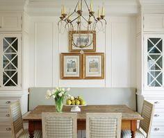 Traditional Kitchen Banquette (© Michael Graydon) - seating with pantry storage on either side Kitchen Banquette, Banquette Seating, Dining Nook, Kitchen Nook, Kitchen Dining, Built In Dining Room Seating, Kitchen Ideas, Rustic Kitchen, Dining Chairs