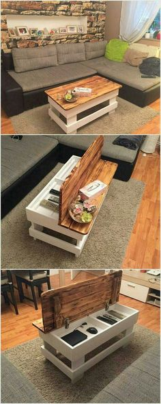 Coffee table but maybe also with an open shelf below
