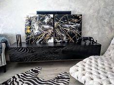 moskvaart / Deň a noc - diptych 120x 60 cm - akryl - čierna, biela, zlatá