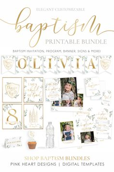 Save time preparing for your daughter's baptism with this this beautiful baptism kit! The bundle includes a baptism invitation, baptism program, baptism signs, note cards with a title page, thank you tags, water bottle labels, cupcake toppers, name banner, welcome sign and food tents!  Click through to demo the design now! #ldsbaptism #baptisminvitation #baptismprintable #baptismgirl #baptismbanner Baptism Program, Baptism Banner, Baptism Invitations Girl, Girl Baptism, Birth Announcement Template, Invitation Kits, Tent Cards, Name Banners, Lds