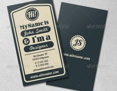 Vintage Typographic Business Card by nexion Vintage style typographic business card. Fully layered and well organized so everything is easy to customize (help file included). Business Cards Layout, Premium Business Cards, Vintage Business Cards, Business Card Psd, Unique Business Cards, Professional Business Cards, Business Card Design, Name Card Design, Bussiness Card