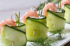 apéro léger : roulé-concombre-fromage-crevettes