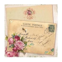 French Bee Gift Tags, Pink Roses, Forget me nots, Carte Postale, Vintage Postcard Rotulação Vintage, Images Vintage, Vintage Cards, Vintage Paper, Vintage Postcards, Vintage Prints, Vintage Pictures, Pocket Letter, Old Letters
