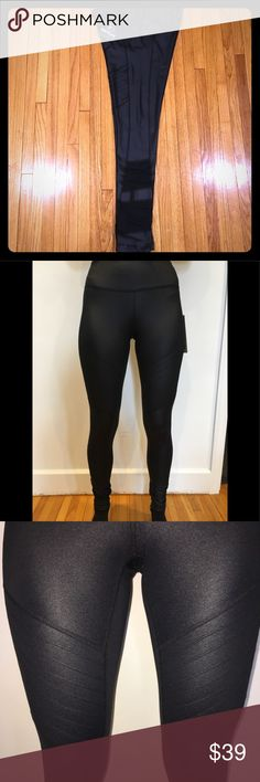 """$88 Moto & Mesh 90 Degrees by Reflex Yoga Leggings New With Tags 90 Degrees by Reflex Yoga Pants. Women's Size Extra Small  They are black with a metallic sheen (hard to capture in my camera phone) They have """"moto"""" detailing on the front thighs and mesh panels on the lower legs. These are true to Size, as the model wears an XS! 90 Degree By Reflex Pants Leggings"""