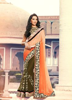 Luxurious Chiffon Satin Green and Orange Designer Half N Half saree