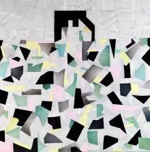 Laura Zeni, Omaggio a Living, serie Geometrie ri-viste, 2016,  acrilico e collage su tela, cm 100x100
