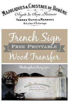 How to Transfer a French Image onto a Wooden Sign, Free Printable included.