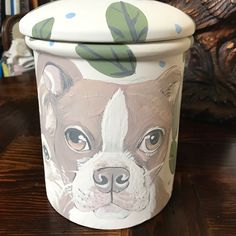 Unfired Boston Terrier canister cookie jar all breeds pet portrait