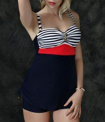 Refreshing Anchor Design Striped Twinset Swimwear For Women Mobile