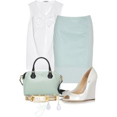 """Pale Blue Pencil Skirt"" by scottiej on Polyvore"